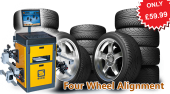 40% Off four wheel alignment – ONLY £59.99